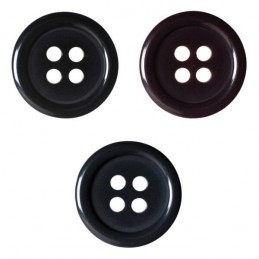 Pack of 6 Hemline Plain Coloured Dish 4 Hole Sew Through Buttons 20mm