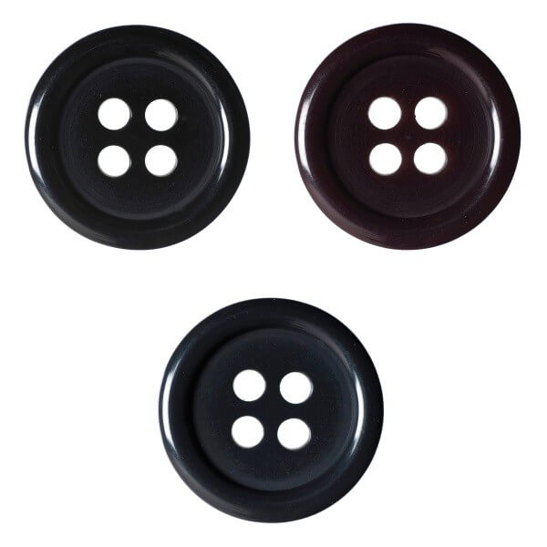 Pack of 2 Hemline Plain Coloured Dish 4 Hole Sew Through Buttons 27.5mm