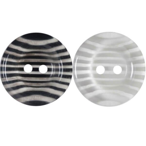 Pack of 2 Hemline Transparent Stripy Dish 2 Hole Sew Through Buttons 25mm