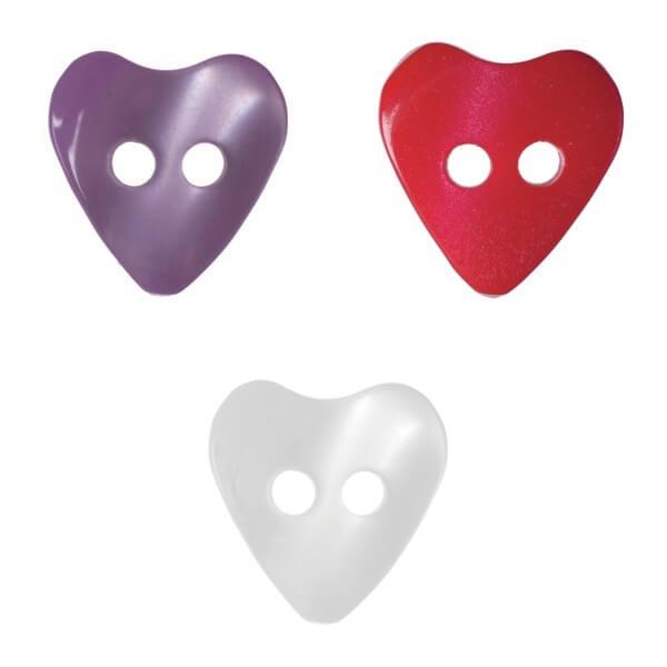 Pack of 17 Hemline Little Hearts 2 Hole Sew Through Buttons 10mm