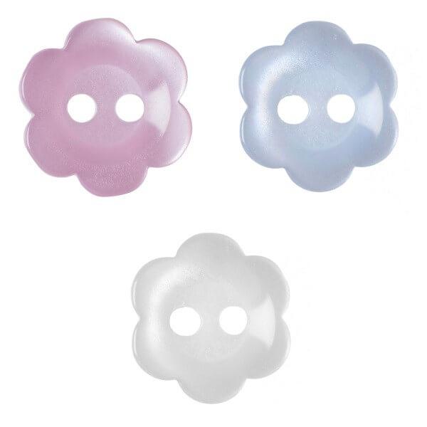 Pack of 17 Hemline Little Flowers 2 Hole Sew Through Buttons 11.25mm