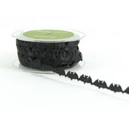 10mm Black Bats Sheer Satin Halloween Ribbon Trim Craft