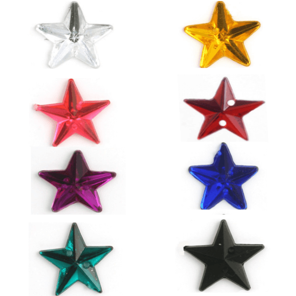 Acrylic Jewels Sew-On Star 10pk Embellishments Craft Gem Stones