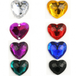 Acrylic Jewels Sew-On Heart 10pk Embellishments Craft Gem Stones