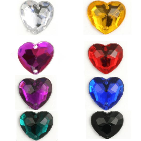 Acrylic Jewels Sew-On Heart 10pk Embellishments Craft Gem Stones