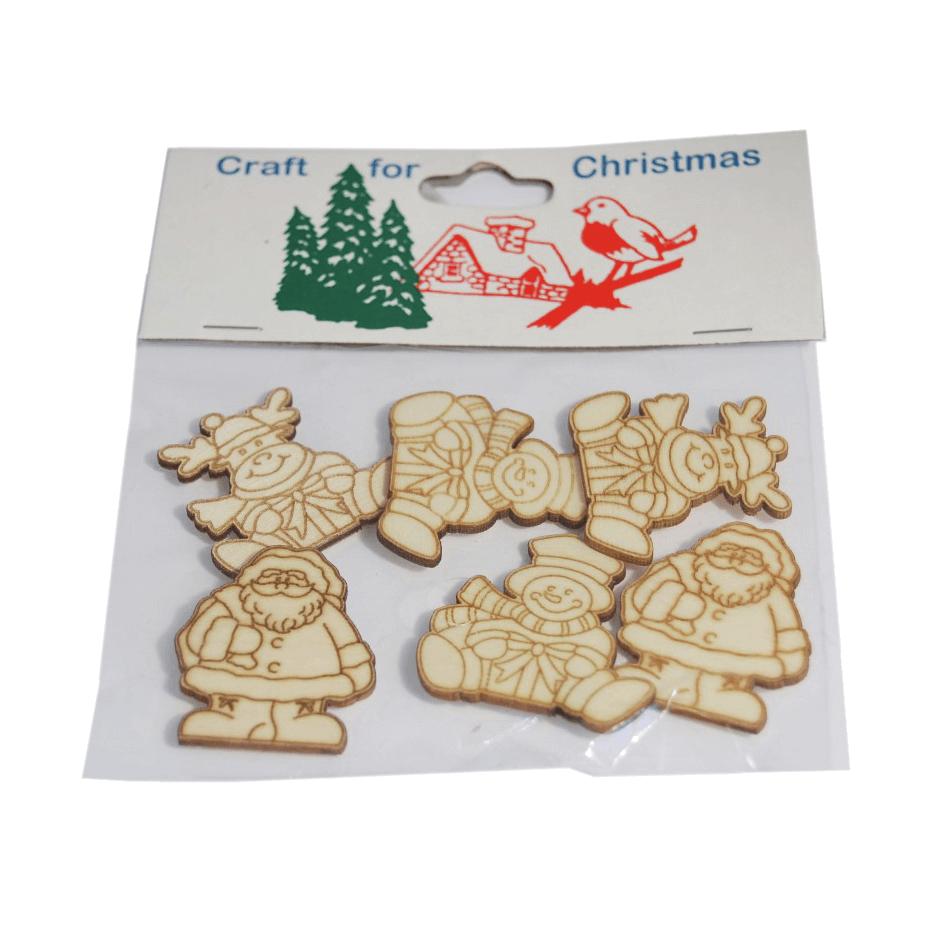 6 x Christmas Wooden Santa Snowmen Embellishments Craft Cardmaking Scrapbooking