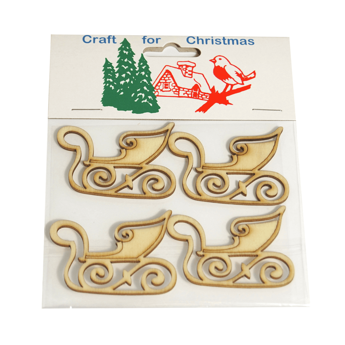 4 x Christmas Wooden Sleighs: Natural Embellishments Craft Cardmaking Scrapbooking