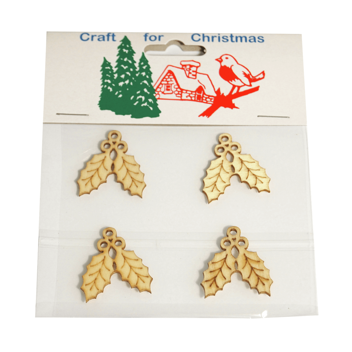 4 x Christmas Wooden Holly Embellishments Craft Cardmaking Scrapbooking