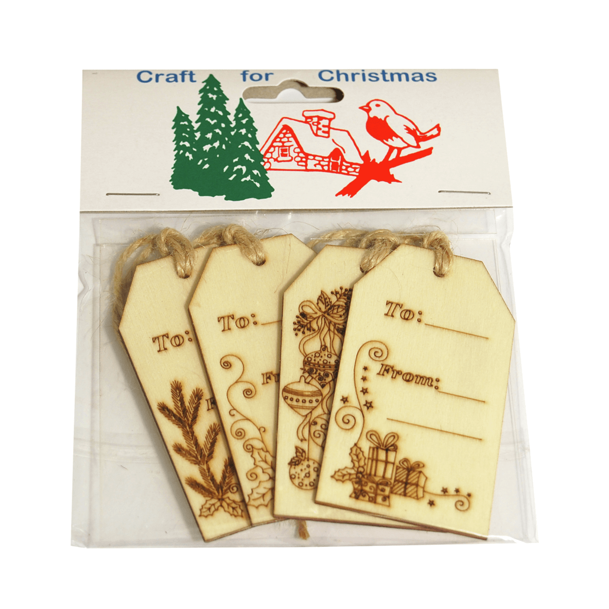 4 x Christmas Wooden Labels: Natural Craft Cardmaking Scrapbooking