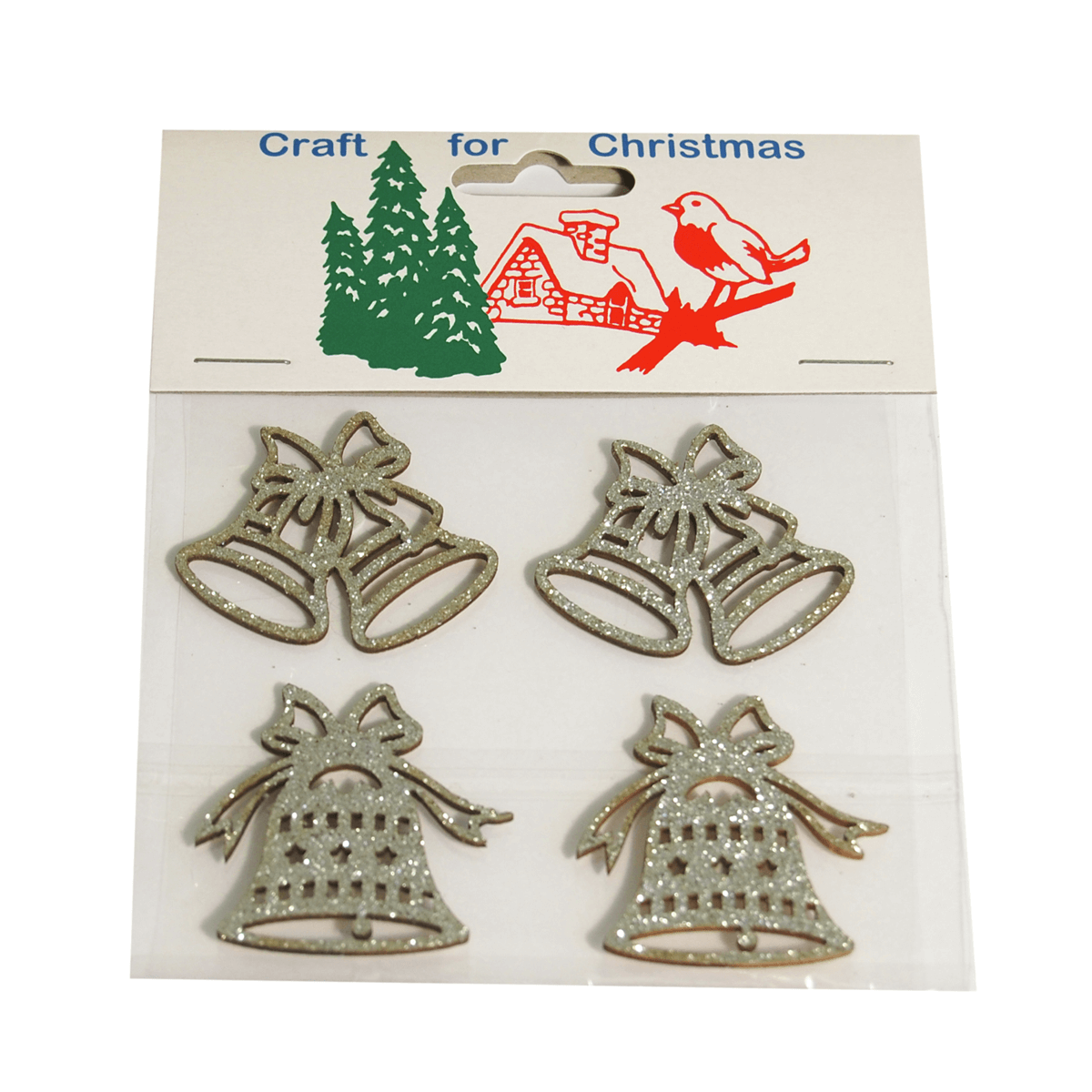 5 x Christmas Assorted Bells Silver Craft Cardmaking Scrapbooking