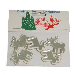 5 x Christmas Mirror 3D Reindeer Embellishments Craft Cardmaking Scrapbooking