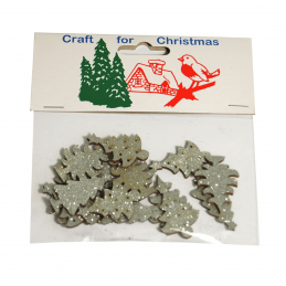 9 x Christmas Glitter Trees: Silver Embellishments Cardmaking Scrapbooking