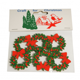 6x Christmas Holly Wreaths Craft Embellishments Cardmaking Scrapbooking