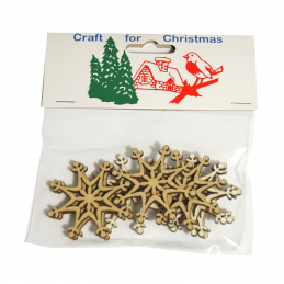 12x Christmas Wooden: Snowflakes Embellishments Cardmaking Scrapbooking