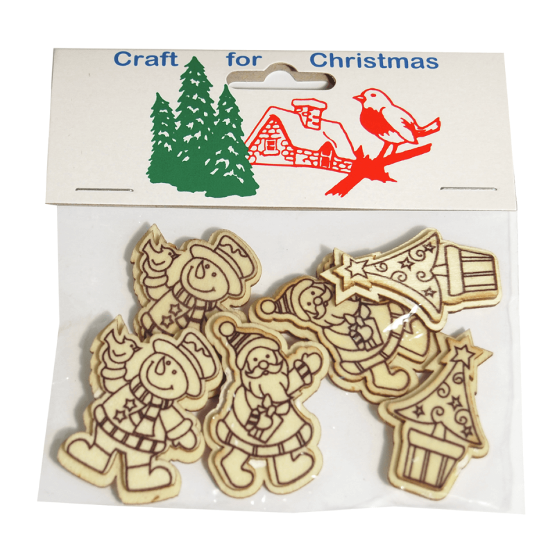 6x Christmas Wooden assorted Figures Natural Cardmaking Scrapbooking