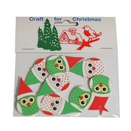 8 x Christmas Owls in Santa Hats Embellishments Craft Cardmaking Scrapbooking