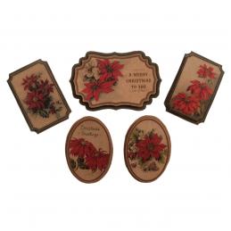 5 x Christmas Poinsettia Badges Embellishment Cardmaking Scrapbooking