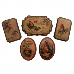 5 x Christmas Vintage Birds Badges Embellishment Cardmaking Scrapbooking
