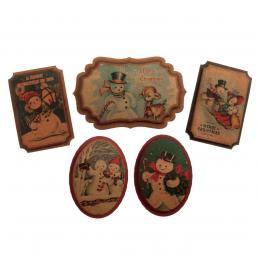 5 x Christmas Vintage Snowman Badges Embellishment Cardmaking Scrapbooking