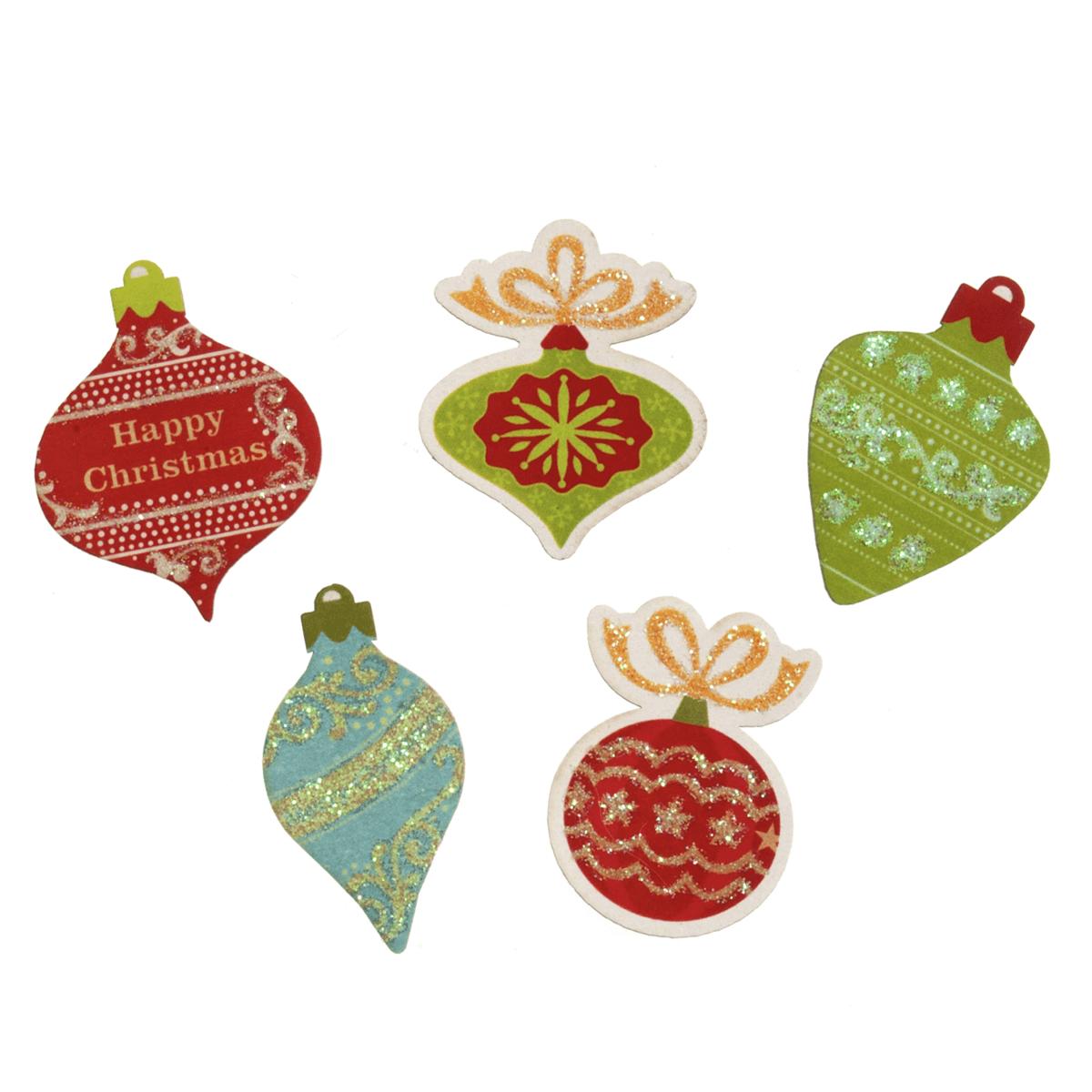 5 x Christmas Glitter Baubles Embellishment Cardmaking Scrapbooking
