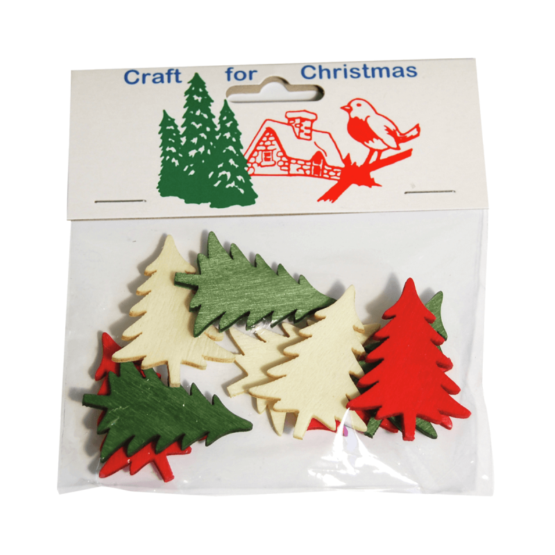 9 x Christmas Stressed Wood: Trees Embellishments Craft Cardmaking Scrapbooking