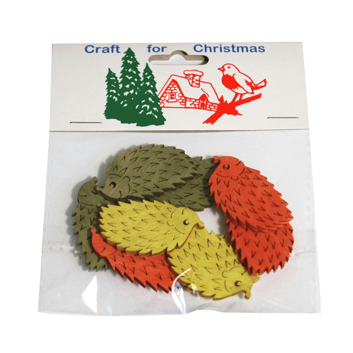 9x Christmas Stressed Wood Large Hedgehogs Embellishments Craft Cardmaking