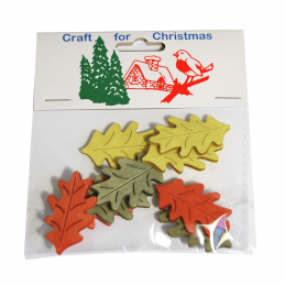 9 x Christmas Stressed Wood Large Leaves Embellishments Craft Cardmaking