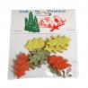 9 x Christmas Stressed Wood Large Leaves Embellishments Craft Cardmaking