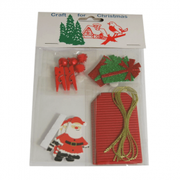 Festive DIY Christmas Gift Tag Kit Red 3 Tags Sets Craft Cardmaking