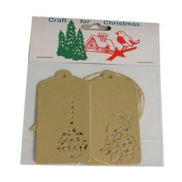 4x Christmas Gift Tags Gold Laser Cut Embellishments Craft Cardmaking