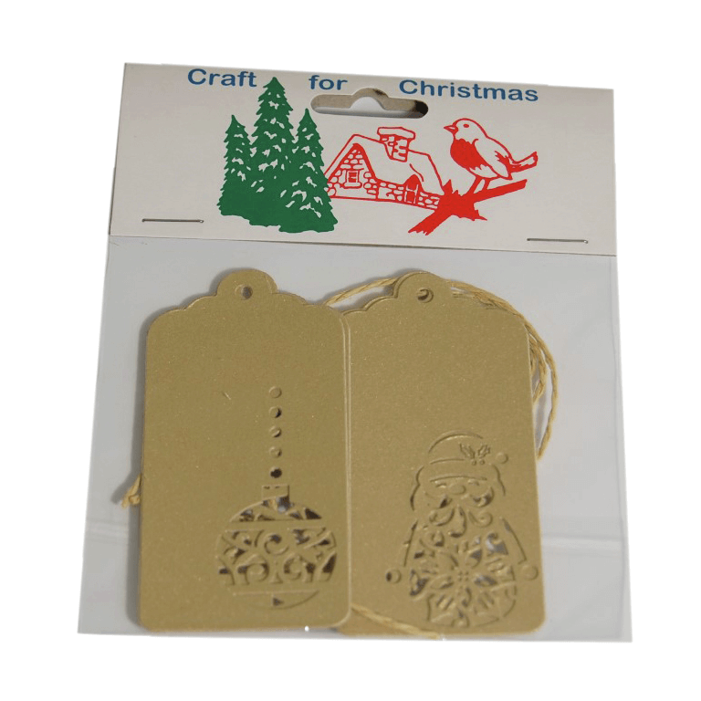 4x Christmas Tags Gold Embellishments Craft Cardmaking