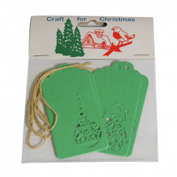 4x Christmas Gift Tags Green Laser Cut Embellishments Craft Cardmaking