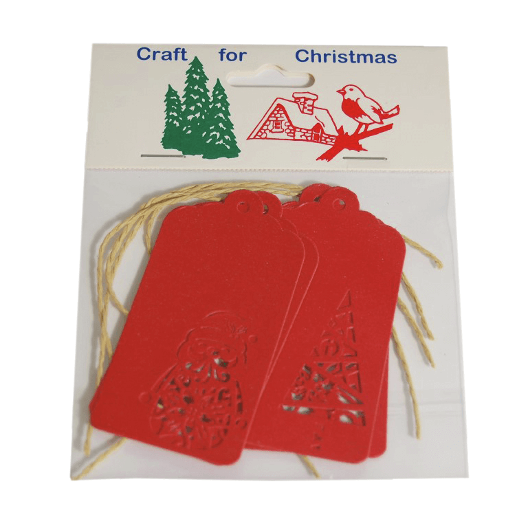 4x Christmas Tags Red Embellishments Craft Cardmaking