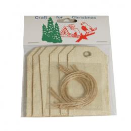 7x Christmas Dark Cream Jute Gift Tags Embellishments Craft Cardmaking