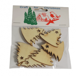 9x Christmas Natural Wooden Christmas Trees Embellishments Craft Cardmaking