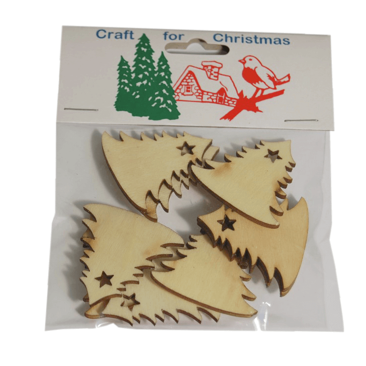 9x Christmas Wooden: Christmas Trees Embellishments Craft Cardmaking