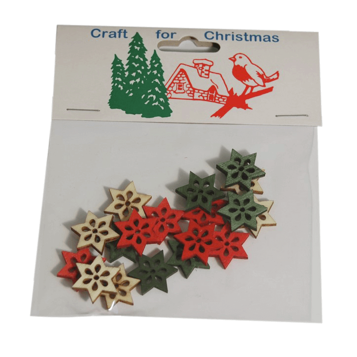 18x Christmas Wooden Small Stars Embellishments Craft Cardmaking
