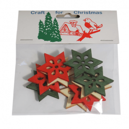 9x Christmas Wooden Large Stars Embellishments Craft Cardmaking