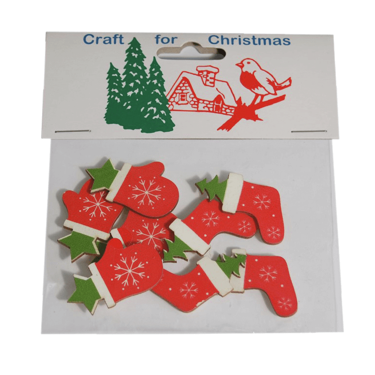 8x Christmas Wooden Glove & Stocking Stickers Embellishments Craft Cardmaking