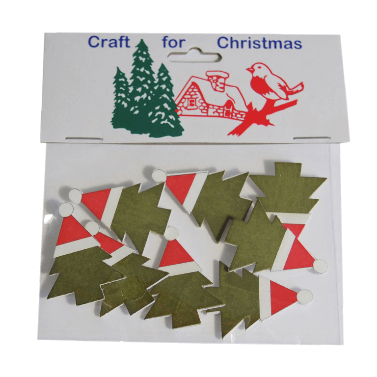 8x Christmas Wooden Tree with Hat Stickers Embellishments Craft Cardmaking