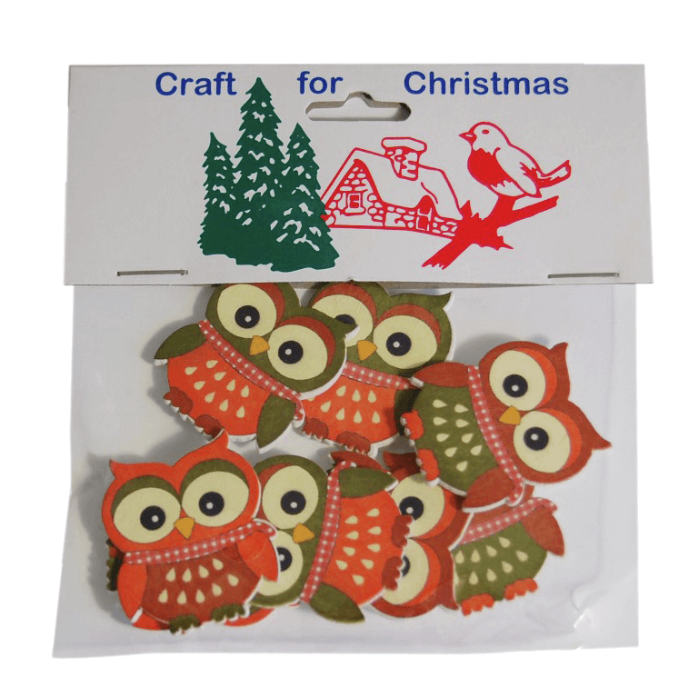 8x Christmas Wooden: Brown Owl  Stickers Embellishments Craft Cardmaking