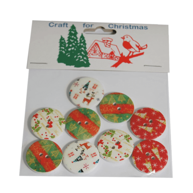8x Christmas Wooden: Buttons: Assorted  Stickers Embellishments Craft Cardmaking