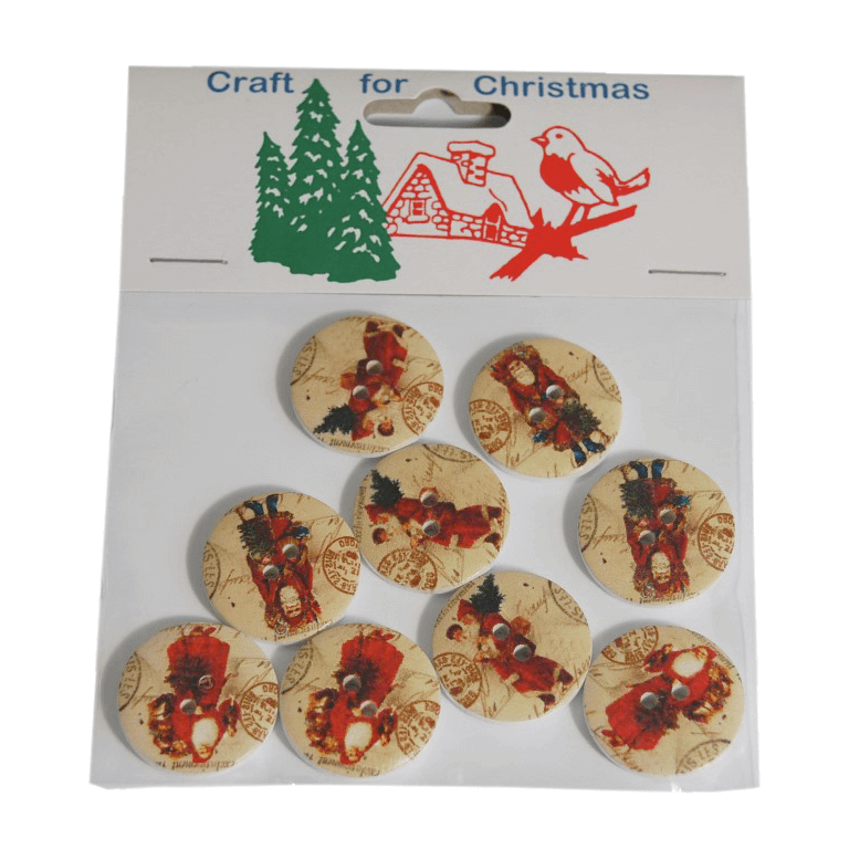 8x Christmas Wooden: Santa Buttons Stickers Embellishments Craft Cardmaking