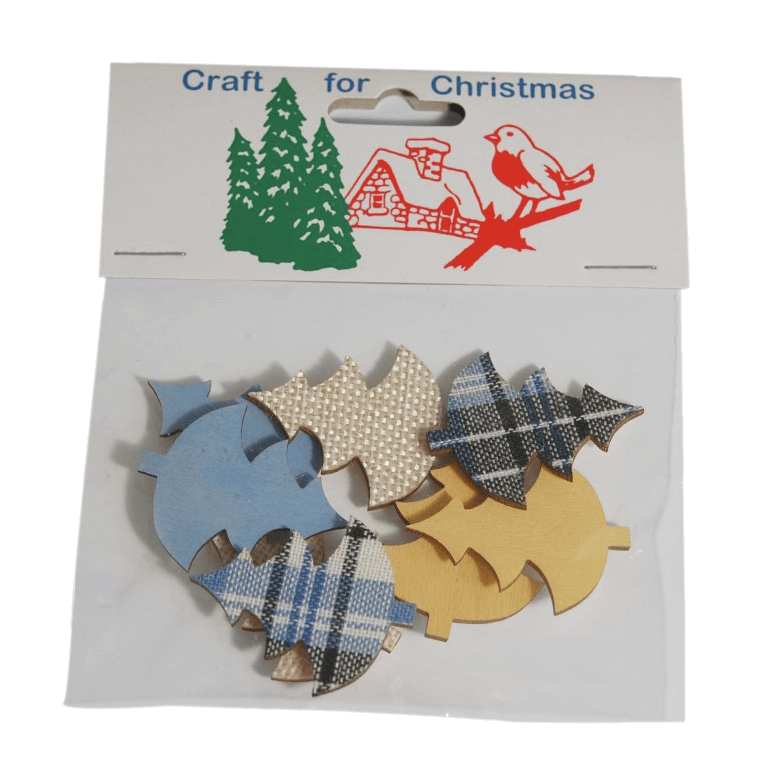 8x Christmas Wooden Tree Stickers Embellishments Craft