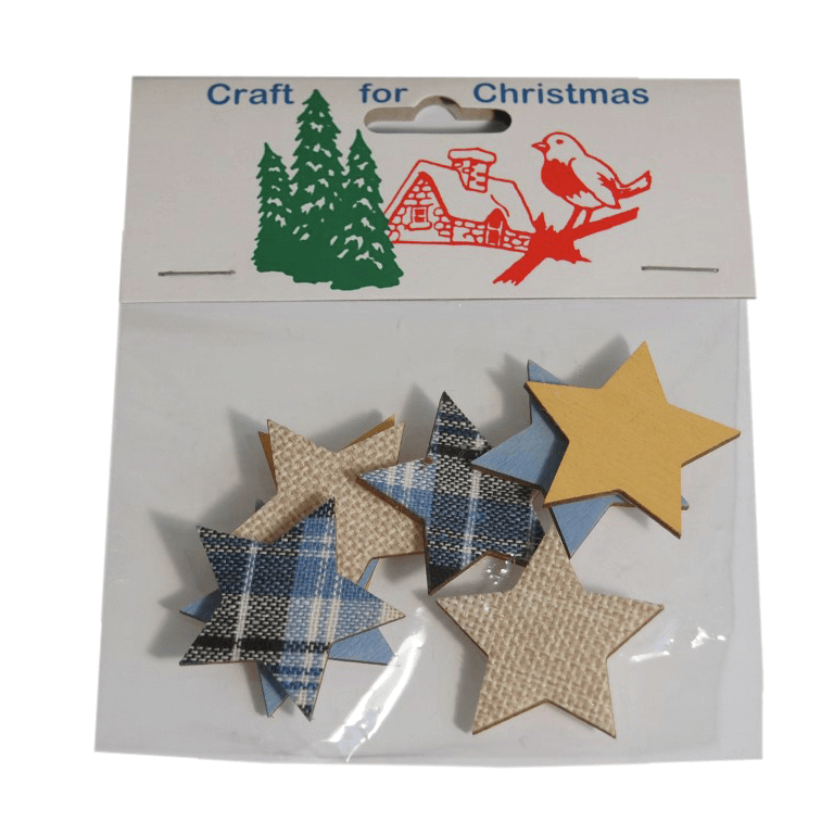 8x Christmas Wooden Star Stickers Embellishments Craft