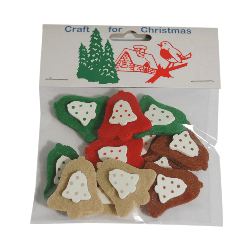 12 x Christmas Felt Bell Stickers Embellishments Craft