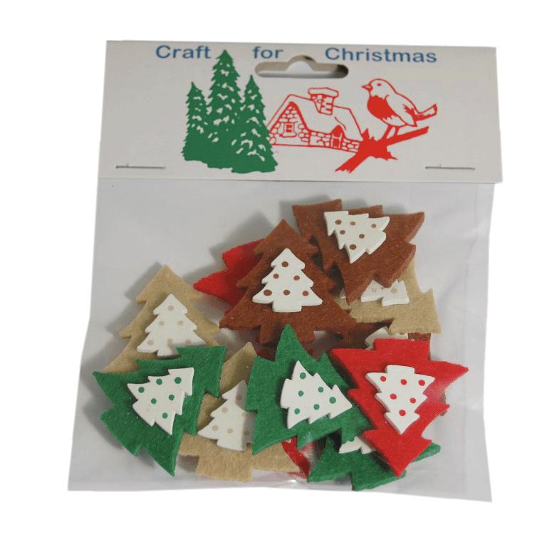 12 x Christmas Felt Tree Stickers Embellishments Craft