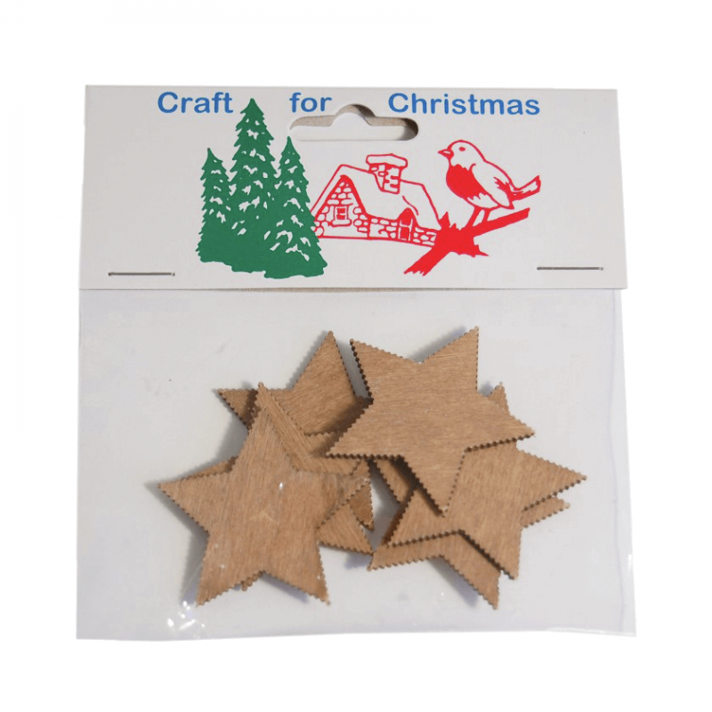 6 x Christmas Wooden Stars Natural Embellishments Craft