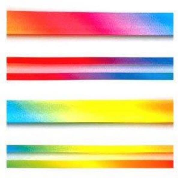 20mm Bright Coloured Rainbow Fade Satin Bias Binding