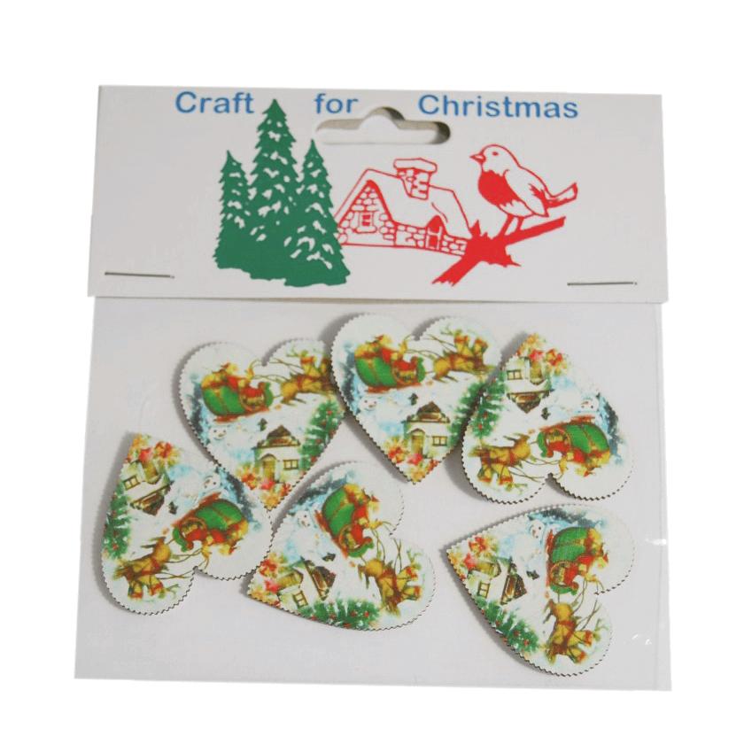 5 x Christmas Wooden Santa Sleigh Hearts Embellishments Craft